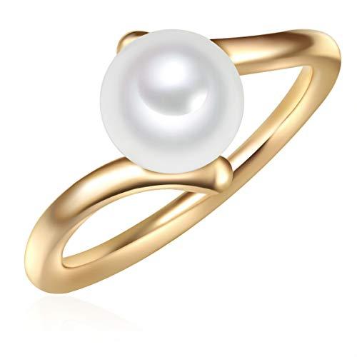 Valero Pearls Plata de ley 925 Perlas de agua dulce de cultivo Anillo de perlas
