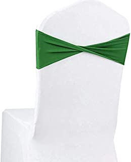 VDS - 50 PCS Spandex Chair Sashes Bow for Wedding and Events Decoration Elastic Chair Bands Ties Without Buckle Lycra Slider sash - Green