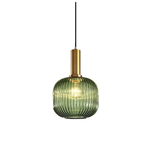 HJXDtech Industrial Vintage Medium Pendelleuchte Moderner Retro-Stil Drop Deckenleuchte Hängelampe Grünes Glas Lampenschirm mit poliertem Messing Lampenfassung