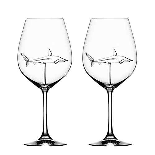 Bingdong Copas de vino tinto con tiburón interior cristal transparente sin plomo para el hogar bar fiesta