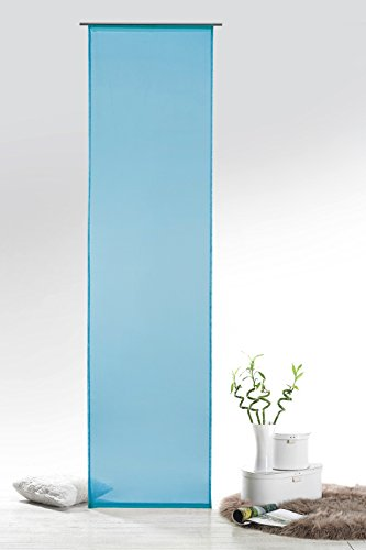 Fashion&Joy - Schiebegardine Voile Aqua HxB 245x60 cm mit Zubehör - transparent einfarbig - Flächenvorhang blau Schiebevorhang Gardine Typ418
