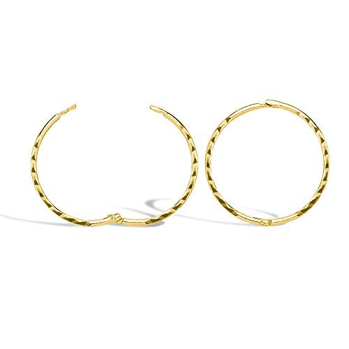 Jewelco London Solid 9ct Yellow Gold Diamond Cut Hinged Sleeper 1mm Hoop Earrings 16mm