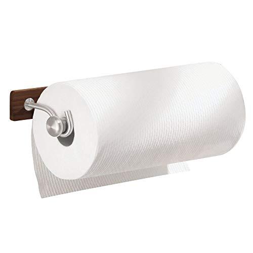mDesign Support pour essuie-Tout en Acier brossé – Porte-Papier de Cuisine Mural – dérouleur de Papier pour Montage au Mur – Rangement de Rouleaux dans la Cuisine et Salle de Bain, Couleur : Espresso