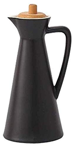 HAQTXI Capacidad Dispensador de cerámica Botella de Aceite de Oliva Cruet Cocina Vinagre de Porcelana con Tapa de bambú, Tapa de Botella de Madera a Prueba de Fugas Evita la oxidación, 800 ml