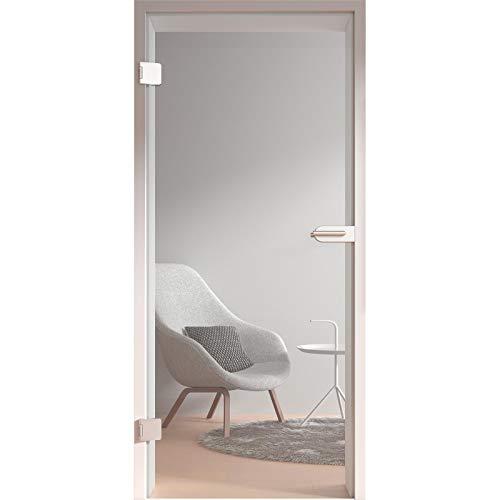 HORI® Glastür Komplettset inkl. Zarge und Türgriff I Klarglas Dreh-Tür aus 8 mm ESG Glas I DIN links I 1972 x 709 x 140 mm