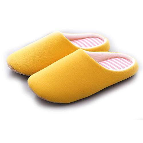 Mujeres Hombres Zapatillas de algodón Cálido Acogedor Memoria Espuma Lavable Lavable Slip Slippers Mujeres Dormitorio Interior Zapatos, Amarillo, 36/37 TINGG