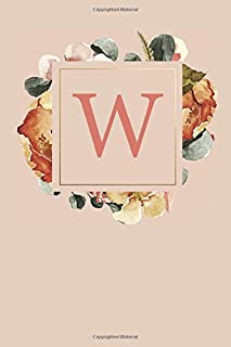W: Peach Monogram Sketchbook | 110 Sketchbook Pages (6 x 9) | Floral Watercolor Monogram Sketch Notebook | Personalized Initial Letter Journal | Monogramed Sketchbook