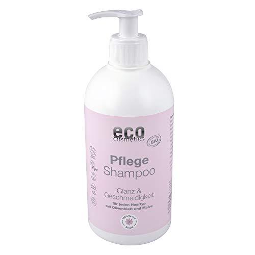 eco cosmetics Pflege-Shampoo - strapazietes Haar & geschädigtes Haar, Vorteilsgröße mit Pumpspender, repariert mit Bio Olivenblatt & Bio-Malve, natürliche Haarpflege für gesundes Haar, Vegan, 1x 500ml