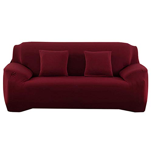 Allenger Stretch Material, Couch/Bed Throw,Elasticity Non-Slip Couch Universal Spandex Solid Color Stretch Sofa Covers-Burgundy_2-Seat and 3-Seat