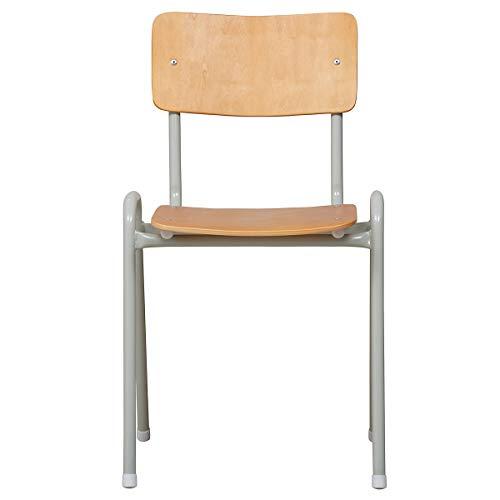 Certeo Stapelstuhl | HxBxT 80 x 38 x 41 cm | Grau | Besprechungsstuhl Küchenstuhl Schreibtischstuhl Arbeitstuhl Holzstuhl Besucherstuhl