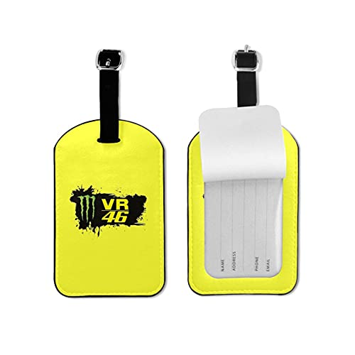 Valentino Rossi VR46 Luggage Tags Travel Baggage Tags Suitcase Tag Labels Business Card Holder for Business Trip Luggage Tag Microfiber PU Leather 2.7*4.3inch