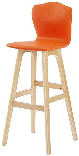 Barkruk gemaakt van hout, stoel met hoge rugleuning, creatieve koffie shop, barkruk, restaurant, hoge stoel, bureaustoel, zithoogte: 74 cm, kruk voor slaapkamer (kleur: oranje) Oranje