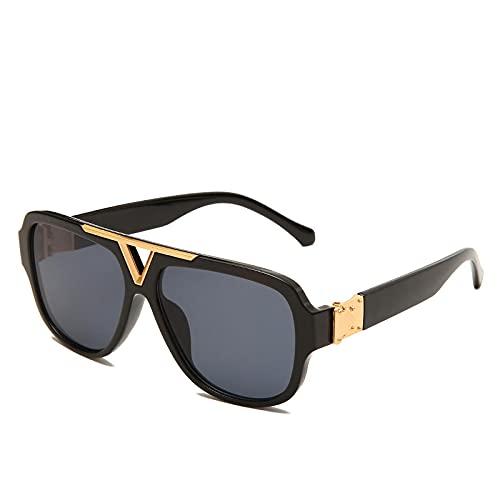 JINZUN Gafas de Sol de Moda Piloto Marco Ovalado Sombrilla Espejo Trend Street Gafas de Sol Anti-UV C5
