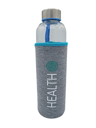 Botella Agua Cristal Con funda neopreno 600 ml Azul Sin BPA Motivacional para Deporte Gimnasio Reutilizable y Térmica | Cantimplora deportiva niño Gym vidrio acero inoxidable.
