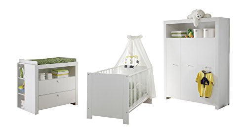 trendteam Babyzimmer 3-teiliges Komplett Set Olivia in Weiß