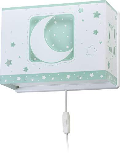 Dalber Moon Light Lámpara Aplique Pared infantil Luna y Estrellas Moonlight Verde, 60 W