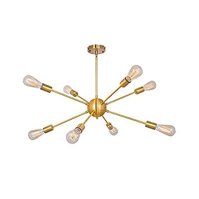 Puming Sputnik Chandeliers 8 Lights Modern Pendant Lighting Flush Mounting Industrial Vintage Light Fixture for Living Room Bedroom Bathroom Kitchen Island Cottage Lighting, Gold