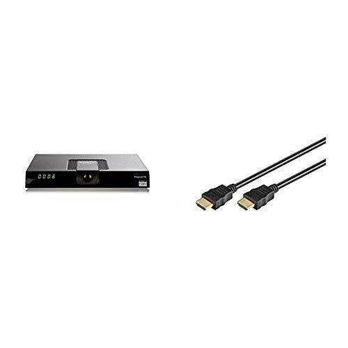 Xoro HRT 8719 Full HDHEVC DVB-T/T2Receiver(H.265, HDTV, HDMI, USB 2.0, 12V) schwarz & Goobay 51819 HDMI High Speed Kabel mit Ethernet, HDMI-Stecker > HDMI-Stecker, 1,5 m