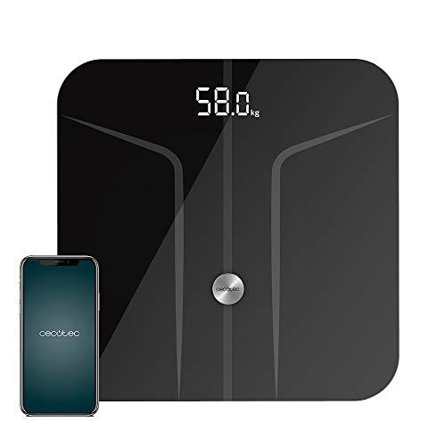Cecotec Báscula de baño Surface Precision 9750 Smart Healthy. Función Bioimpedancia, Conectividad Bluetooth, 10 Parámetros, Superficie de vidrio templado