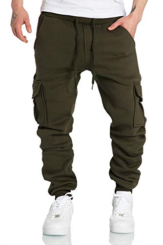 REPUBLIX Herren Cargo Sweatpants Sporthose Jogginghose Jogger Trainingshose R6102 Khaki L