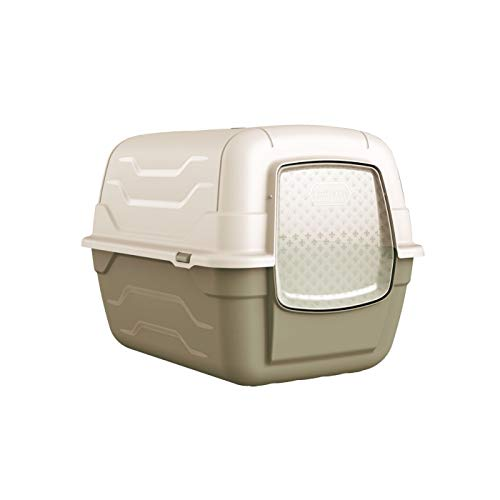 Mediawave Store - Toilet Chiusa Lettiera per gatti47x35xh40 cm con Completa di Filtro Anti Odore e Paletta Toilette igienica Coperta, Colori Assortiti, Pulizia dei bisogni Gatto (Beige)
