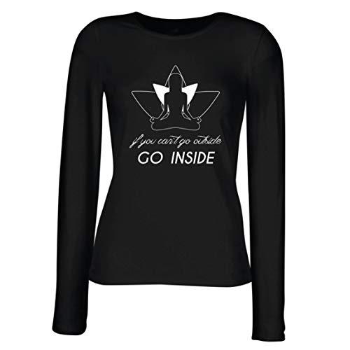 lepni.me Camisetas de Manga Larga para Mujer Entra En Mantra Ropa de Yoga de Cuarentena (X-Large Negro Multicolor)