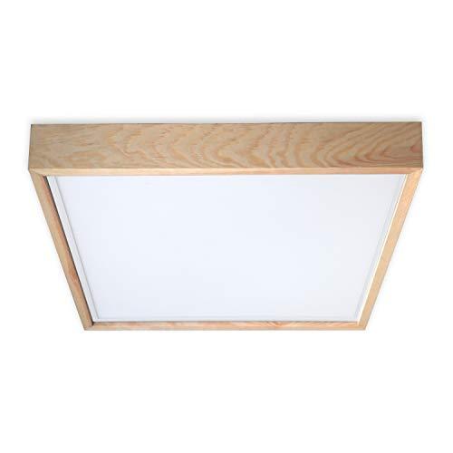 Deckenlampe Holz Quadrat 60x60 cm AUFPUTZ // Decken Lampe Holzlampe Loft Vintage Industrie (Warmweiß)