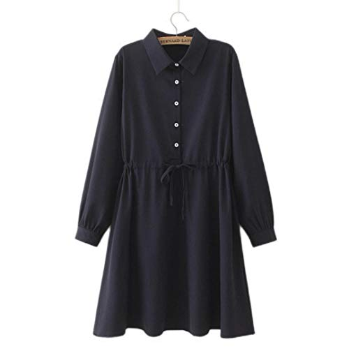 Spring/Autumn Oversize Women Dress 2021 Fashion Casual Clothes Loose Long Sleeve Solid Drawstring Waist Shirt One-Piece