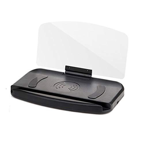 KoelrMsd 1 Uds., Soporte para teléfono móvil, proyector de navegación para Coche Hud, Pantalla Frontal, Cargador inalámbrico Qi, Soporte para Coche