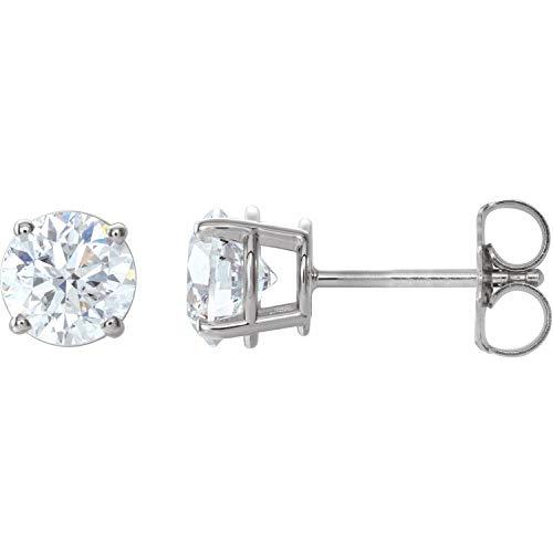 Pendientes de oro blanco de 14 quilates con diamantes de 1 1/2 CTW, joyería fina para mujer