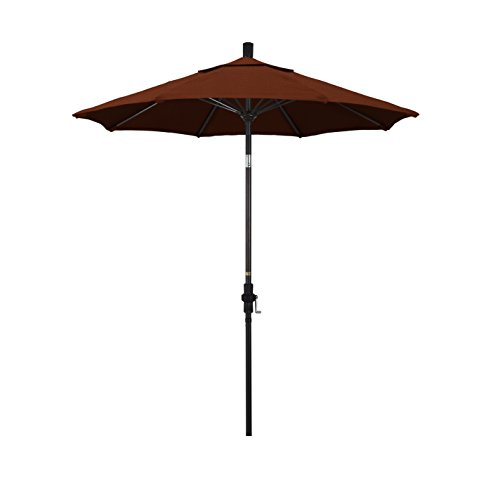 California Umbrella 7.5' Round Aluminum Pole Fiberglass Rib Market Umbrella, Crank Lift, Collar Tilt, Bronze Pole, Brick