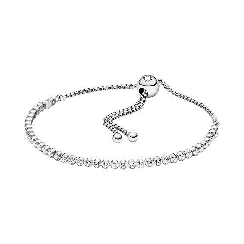 Pandora Timeless Funkelndes Schiebe-Tennisarmband mit verstellbarem Verschluss aus Sterling Silber/Größe: 23cm