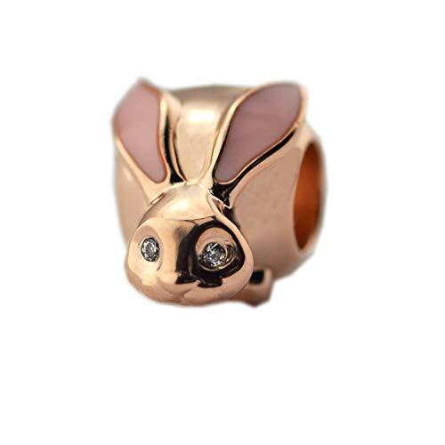 LIIHVYI Pandora Charms para Mujeres Cuentas Plata De Ley 925 Joyas De Animales De Conejito Lindo De Oro Rosa Compatible con Pulseras Europeos Collars