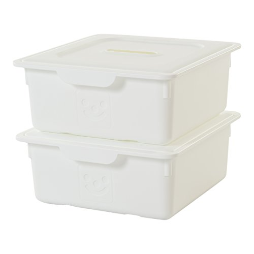 IRIS, 2er-Set Schublade-Box 'Smiley Kids Boxes', KDL-330, Kunststoff, mit Deckel, weiß, 33 x 31,5 x 13,5 cm