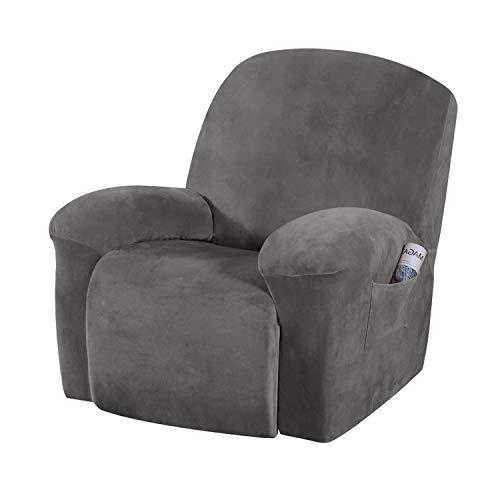 E EBETA Samt-Optisch Stretchhusse für Relaxsessel Sesselbezug, Komplett Sesselschoner, Elastisch Bezug für Fernsehsessel Liege Sessel (Grau)