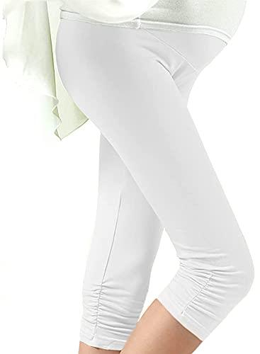 Mille Ti Rana マタニティ カラフル レギンス 7分丈 裾くしゅくしゅ 妊婦 レディース ホワイト