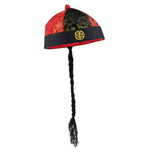 Bonarty Adults Retro Chinese Oriental Hats Silk Funny Party Costume Cap with Pigtail - Red Black, as described