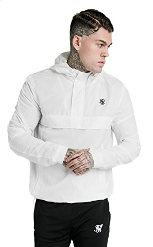 SIKSILK Energy Overhead Windbreaker Jacket-White-S