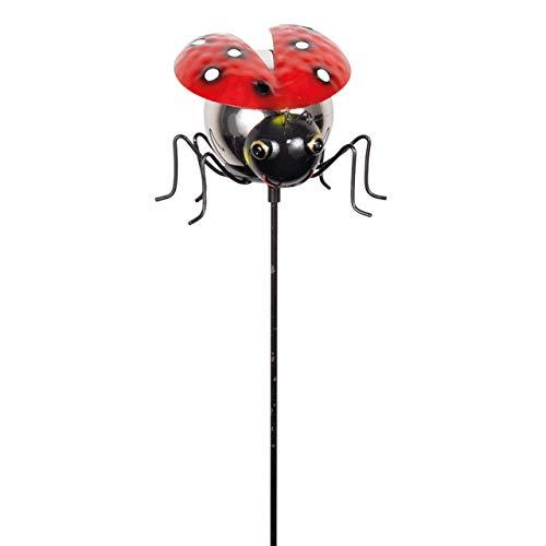 CIM Gartenstecker Marienkäfer - Mirror Ladybird - Gesamthöhe: 91cm - Kopf: 13,5cm x 13cm - Gartendekoration inklusive polierter Edelstahlkugel - attraktive Gartendeko – Gartenstab - Beetstecker