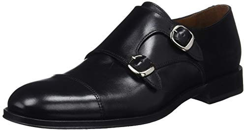 Lottusse L6964, Zapatos Doble Hebilla Hombre, Negro (Ebony Negro), 44 EU