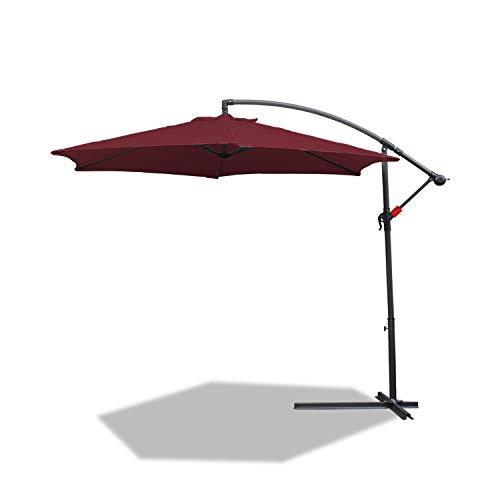 BMOT Parasol de Aluminio de 350 cm de diámetro, sombrilla con manivela, Altura Regulable, protección UV 40+, Revestimiento Impermeable, 8 puntales