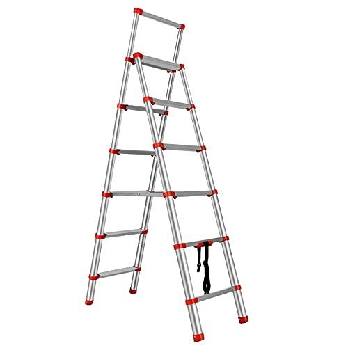 WHOJS Escalera Telescópica Escalera del hogar Con reposabrazos Escalera de aluminio plegable...