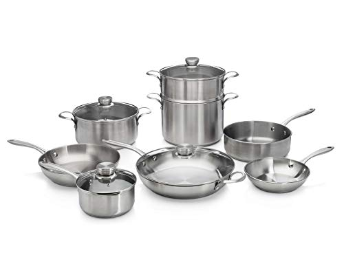 Frigidaire 11FFSPAN17 Ready Cook Cookware, 12-Piece, Stainless Steel,...