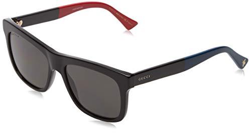 GUCCI GG0158S-003 Gafas de sol, Negro Brillo/Rojo/Azul, 54 para Hombre