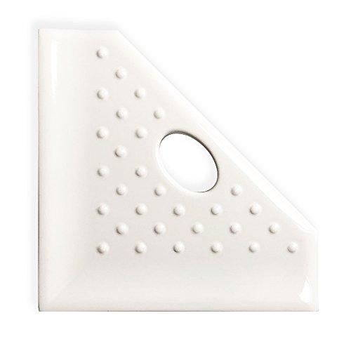 5 inch Shower Foot Rest Corner Bathroom Organizer Corner - Polished White Shower Caddy Geo Wall Mount Flatback Shelf