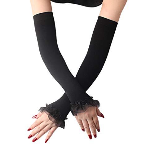 PHILSP Calentador sin Dedos para Mujer Protección UV Guantes sin Dedos Volantes...