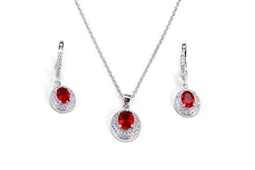 Plata de ley chapado en platino con rubí Juego de Neckace y pendientes de diamante