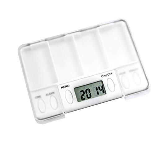 Allouli Pill Organizer with Alarm Reminder 8 Alarms Per Day Timer Electronic Box Case Dispenser