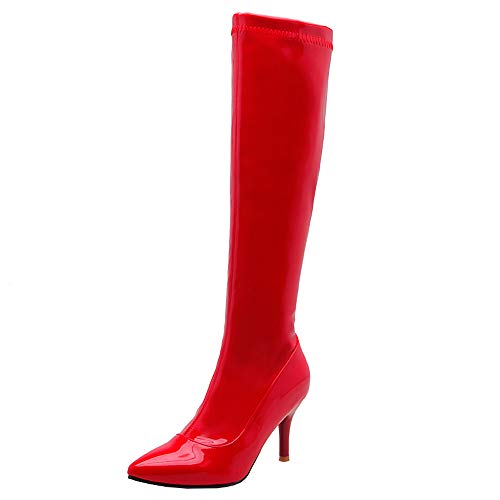 [RAZAMAZA] 靴 レディース エナメル ロングブーツ 大きいサイズ ピンヒール ブーツ ポインテッドトゥ 美脚 39AS Red