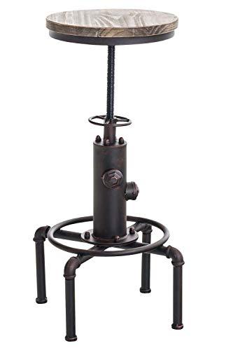 CLP Taburete Industrial Lumos con Asiento De Madera I Taburete Alto Retro con Forma De Hidrante I Taburete De Bar Regulable En Altura I Color: Bronce